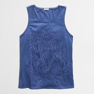J.Crew Factory Lace-Front Tank in Periwinkle Blue.